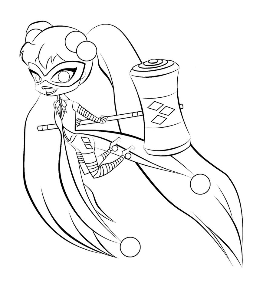 Harley Quinn Chibi Lineart By Straymink On Deviantart Harley Quinn Coloring Pages