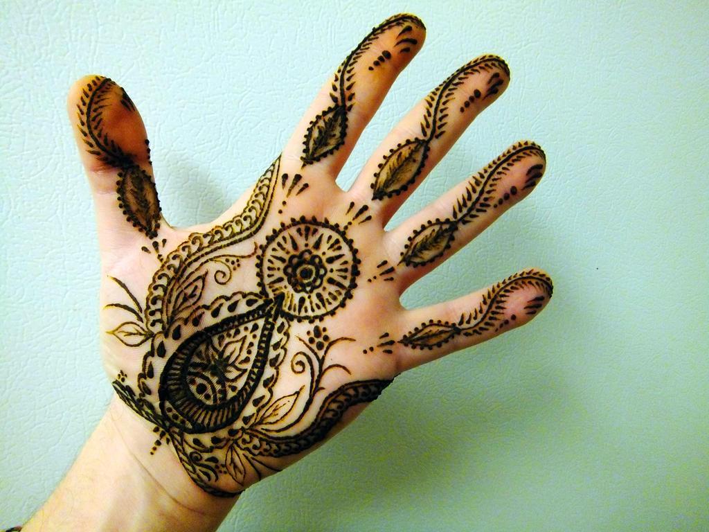 Left hand Palm henna design