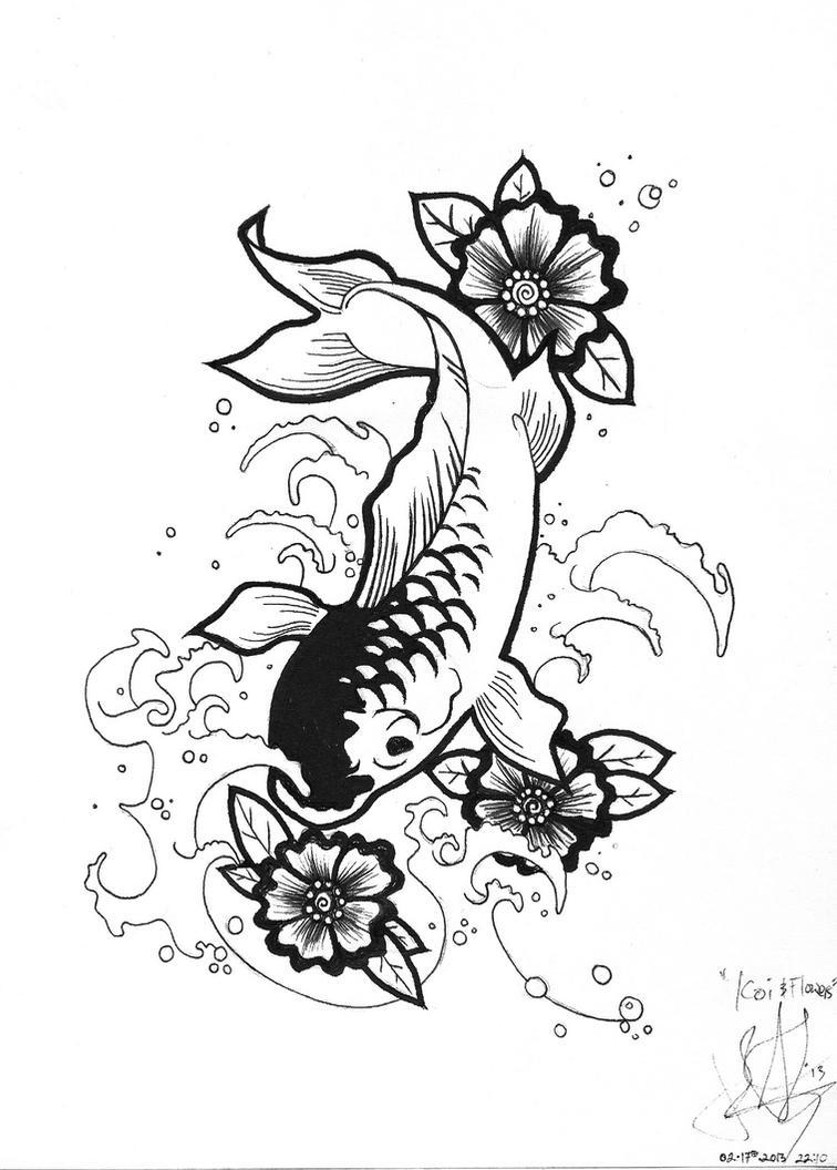 Henna Flower Design Drawing Koi And Flowers Henna Design