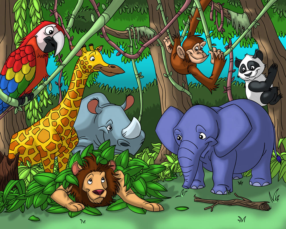 Jungle Fun by Hen-Hen on DeviantArt Jungle Drawing With Animals