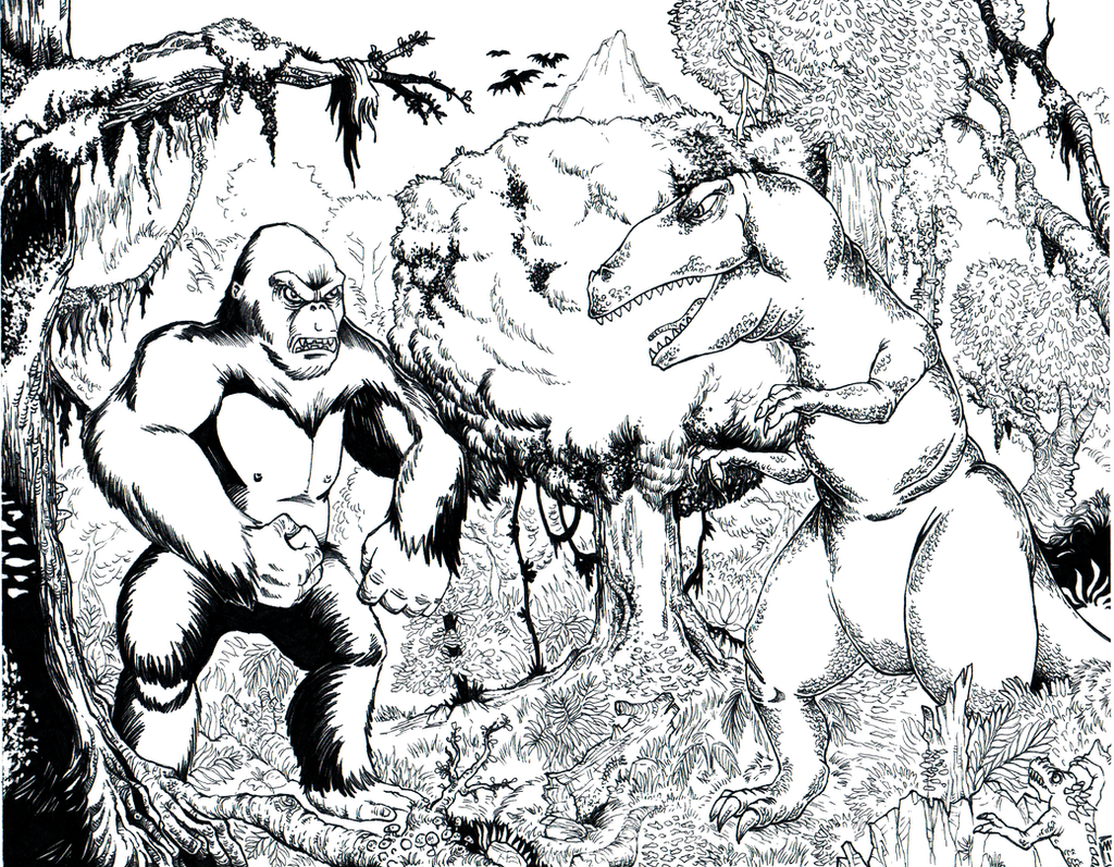 King Kong vs the T-Rex  Black and White by hawanja