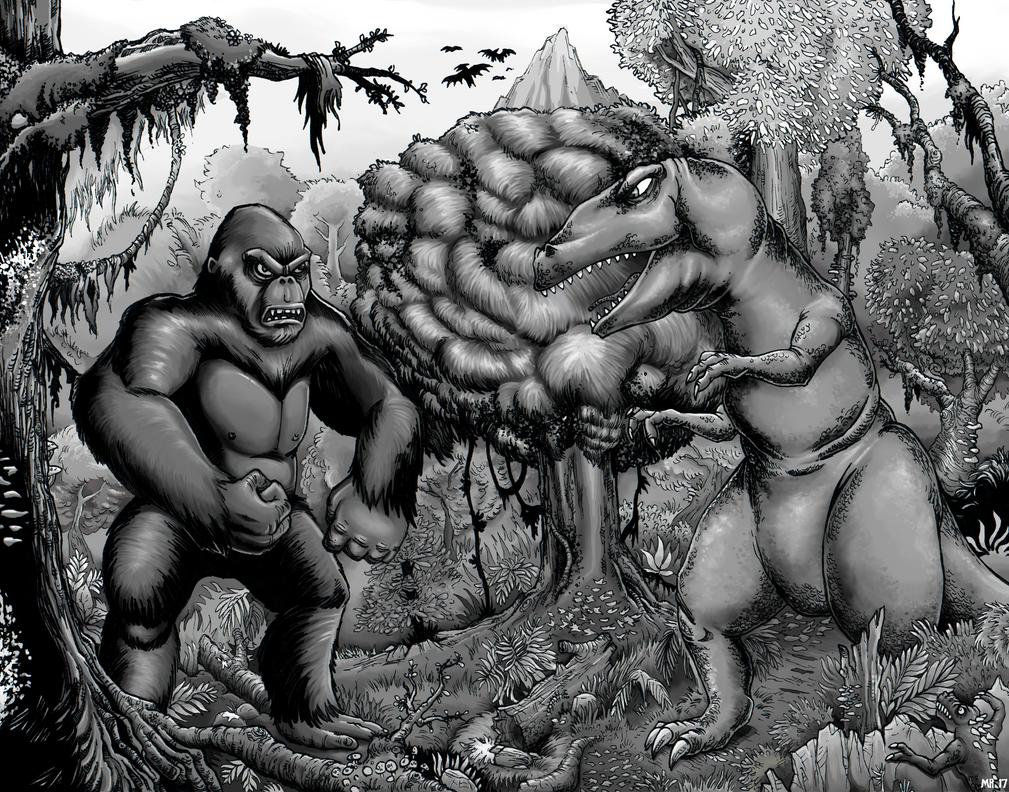 King Kong vs the T-Rex - Greyscale by hawanja
