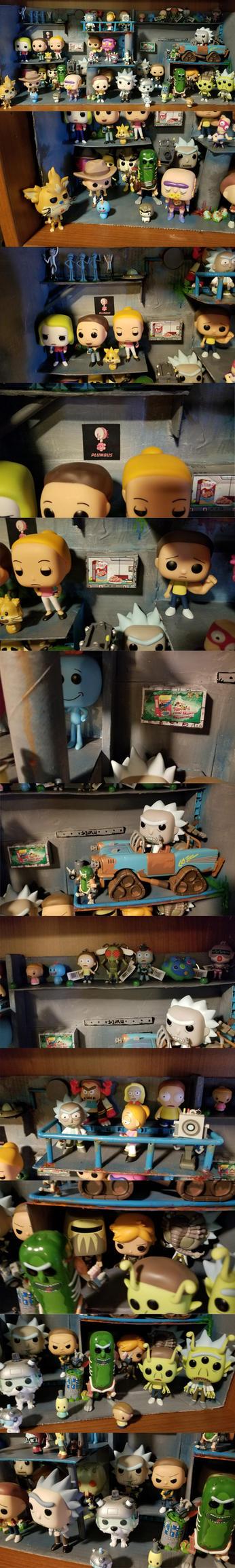 Rick and Morty Shelf Diorama by hawanja