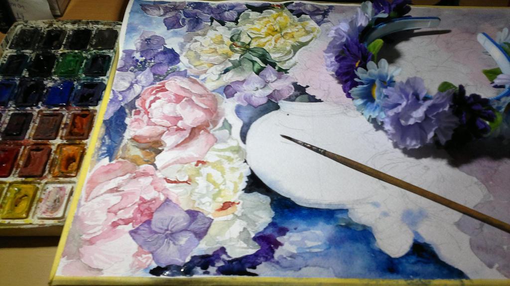 peonies and violet flowers WIP2 by DariaGALLERY