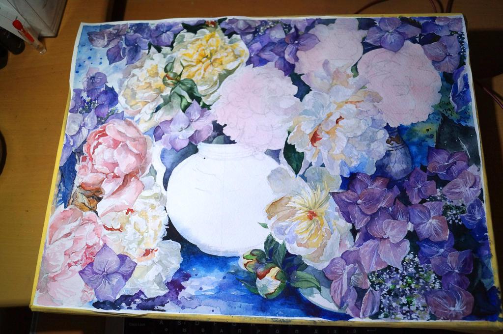 peonies and violet flowers WIP3 by DariaGALLERY