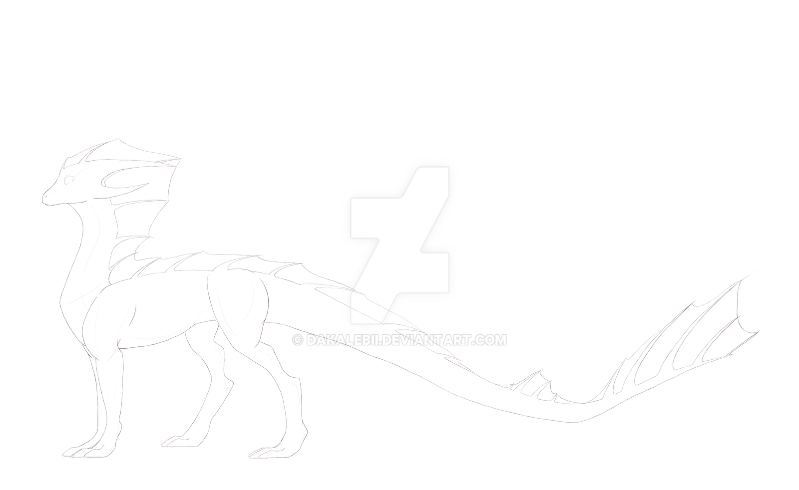 Dragon Lineart by Dakalebii