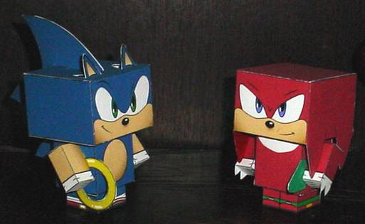 Sonic and Knuckles Cubee by paperart