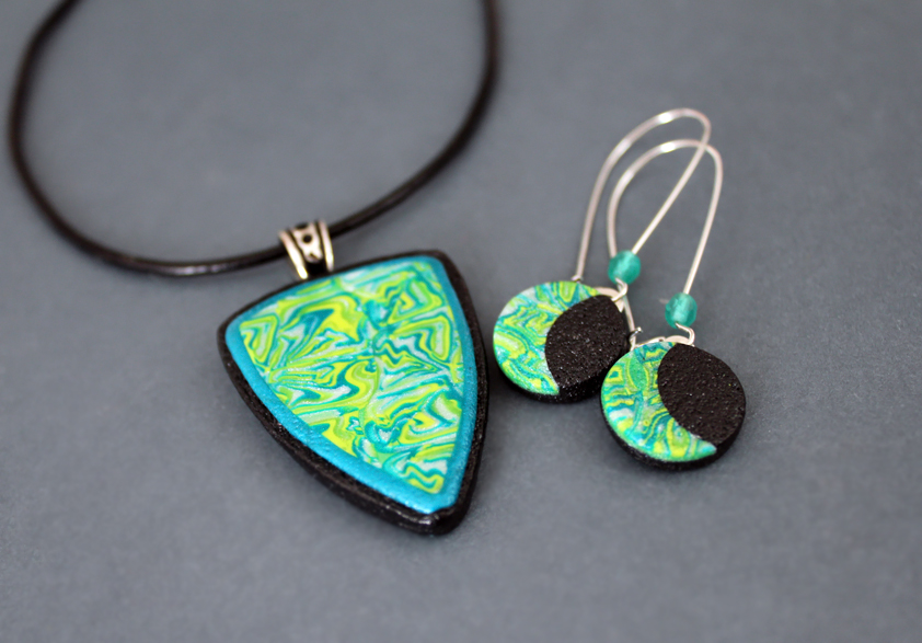 statement clay market blue pendant il etsy necklace polymer long