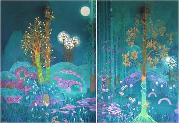 Emerald Garden (wall mural WIP) by yanadhyana
