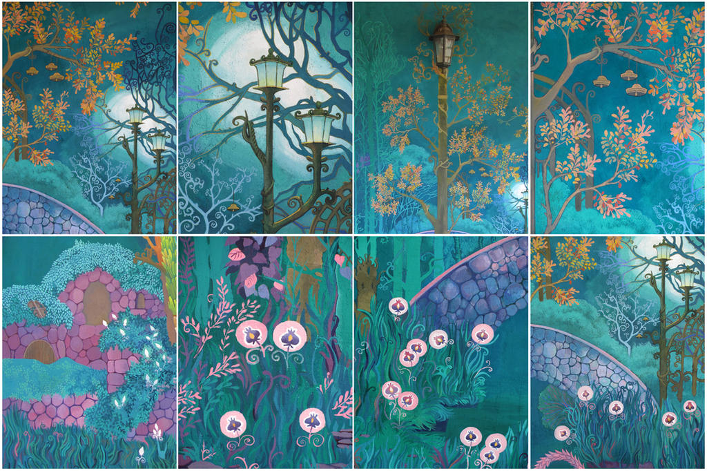 emerald garden fragments of wall mural by yanadhyana on in the night garden magic window image wall sticker mural