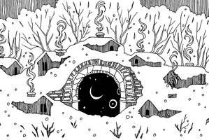 Inktober: Snowy Village