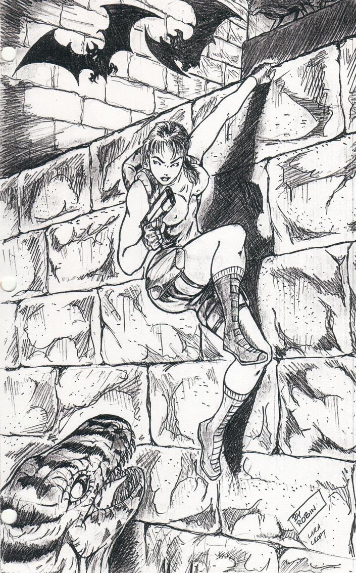 Lara Croft Drawn in High School by Jinyol