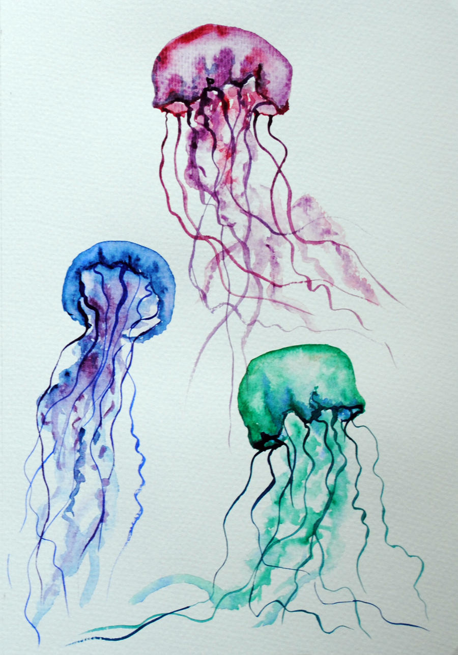 Jelly fish watercolor 2 by lunicqa on deviantart for Watercolor fish painting