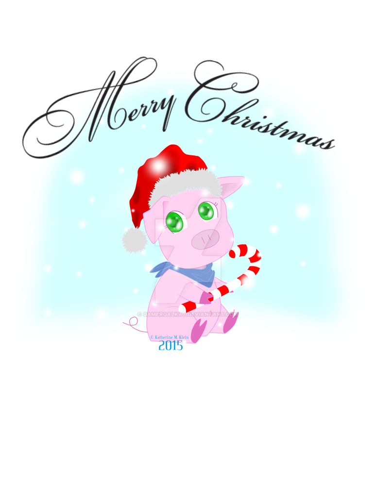 Merry Christmas\' - Mitzy Pig Christmas Card Print by GamerGalKat on ...
