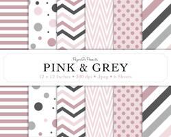 Digital Scrapbook Paper - Pink and Grey by LadySprinkles