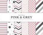 Digital Scrapbook Paper - Pink and Grey