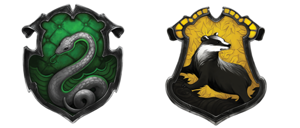 slytherin and hufflepuff crests by MuseIsMyMuse777