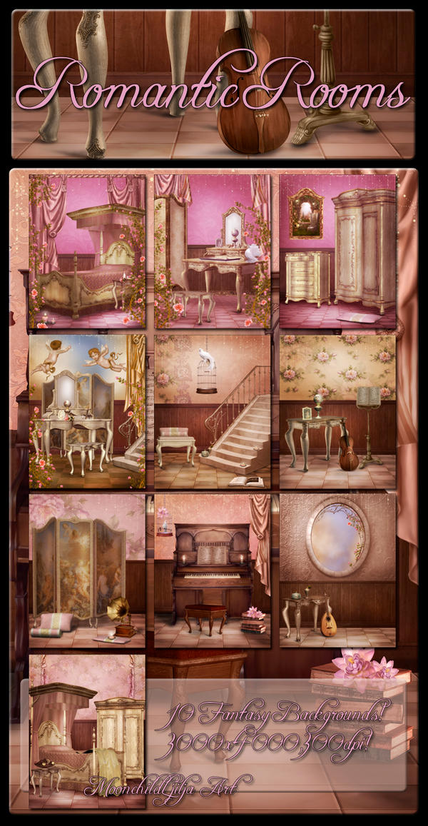 Romantic Rooms backgrounds by moonchild-ljilja