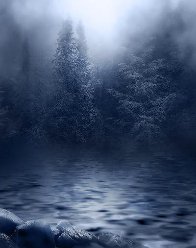 Dark Foggy River background by moonchild-ljilja
