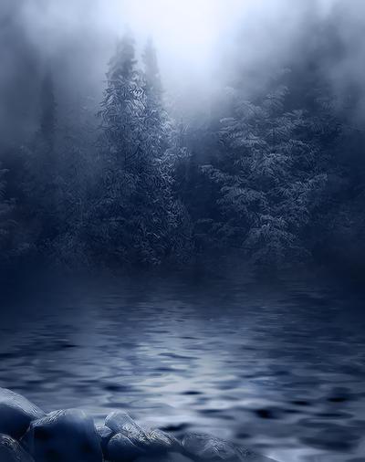 Dark Foggy River background by moonchild-ljilja