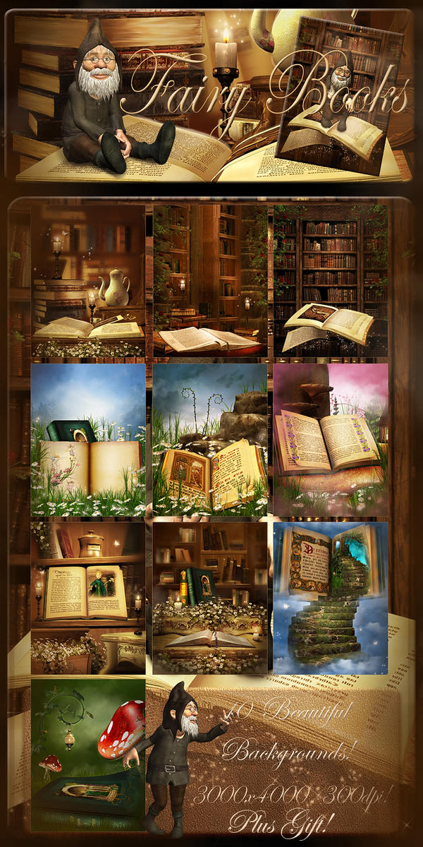 Fairy Books backgrounds by moonchild-ljilja