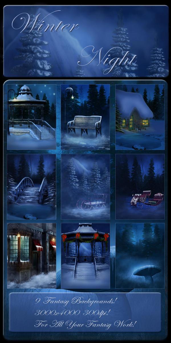 Winter Night backgrounds by moonchild-ljilja