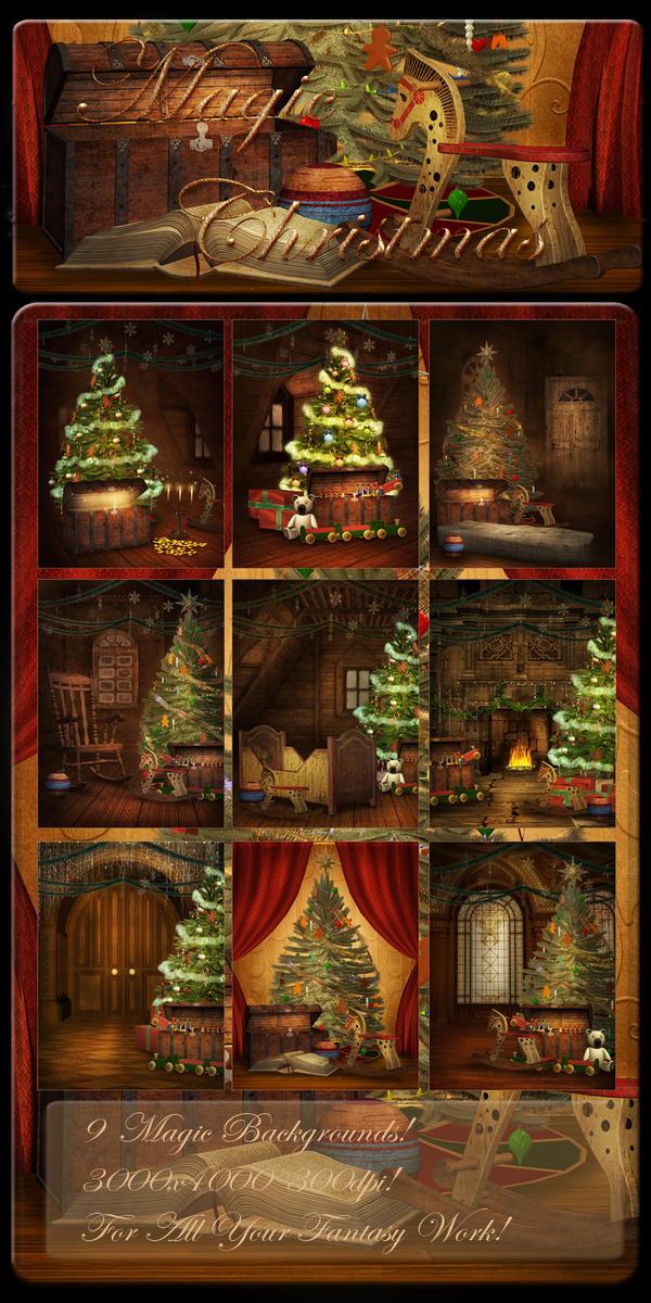 Magic Christmas backgrounds by moonchild-ljilja