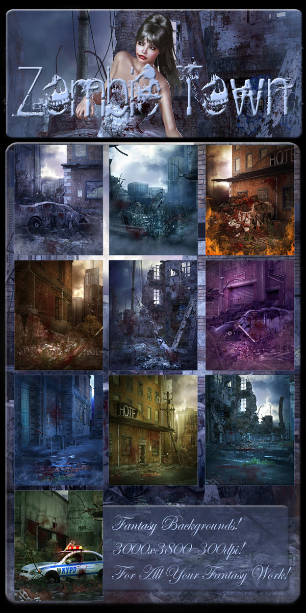 Zombie Town Backgrounds by moonchild-ljilja