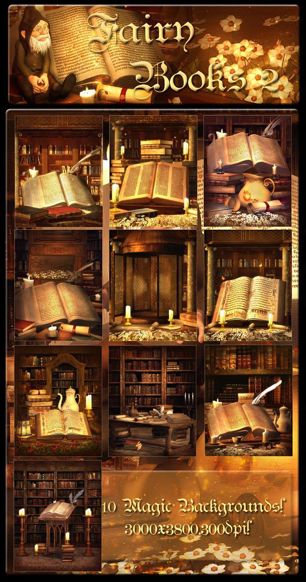 Fairy Books 2 backgrounds by moonchild-ljilja