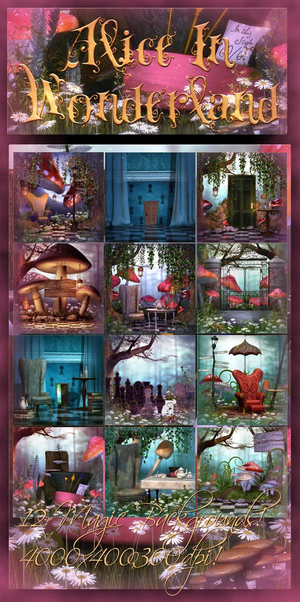 Alice in Wonderland 2 backgrounds by moonchild-ljilja