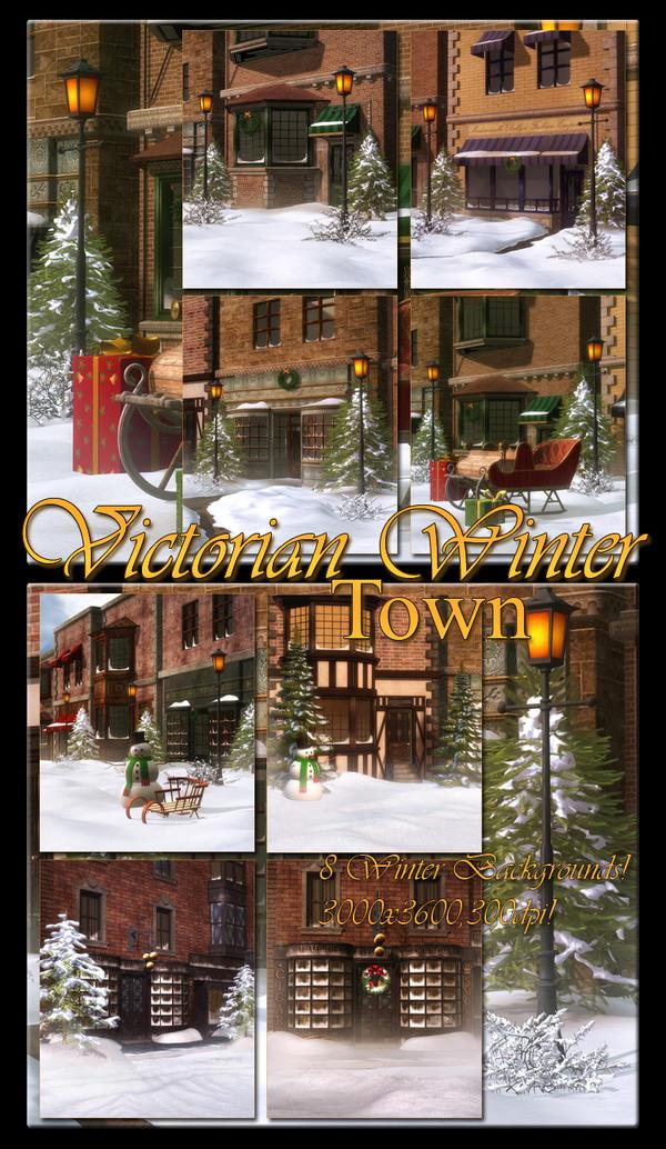 Victorian Winter Town Backgrounds by moonchild-ljilja