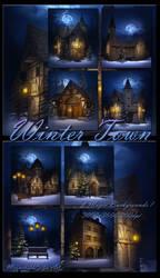 Winter Town backgrounds by moonchild-ljilja