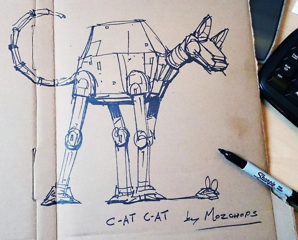 C-AT C-AT (quick sketch, sharpie on cardboard) by m0zch0ps