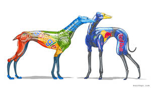 Robot dogs concepts (Google and Red Bull versions) by m0zch0ps