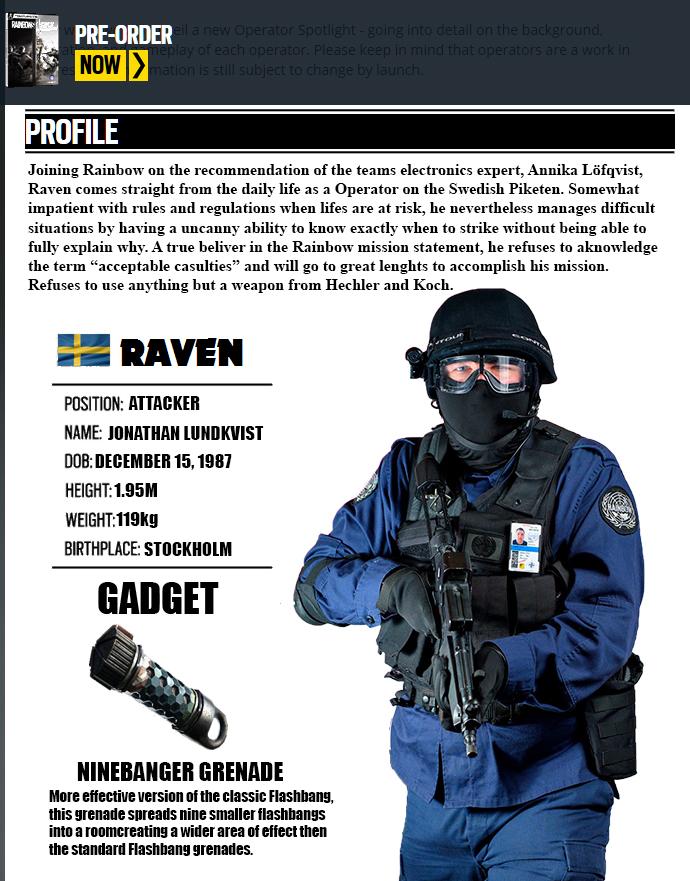 Rainbow Six Siege Operator: Raven by JRL5 on DeviantArt