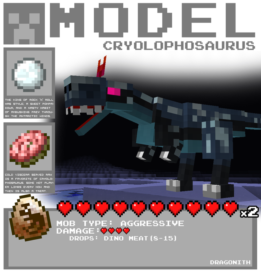 Minecraft - Cryolophosaurus by Dragonith
