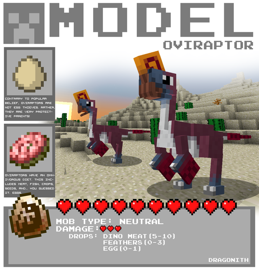 Minecraft - Oviraptor by Dragonith