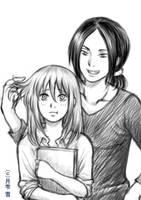 Ymir and Christa Doodle by hakuyukiko