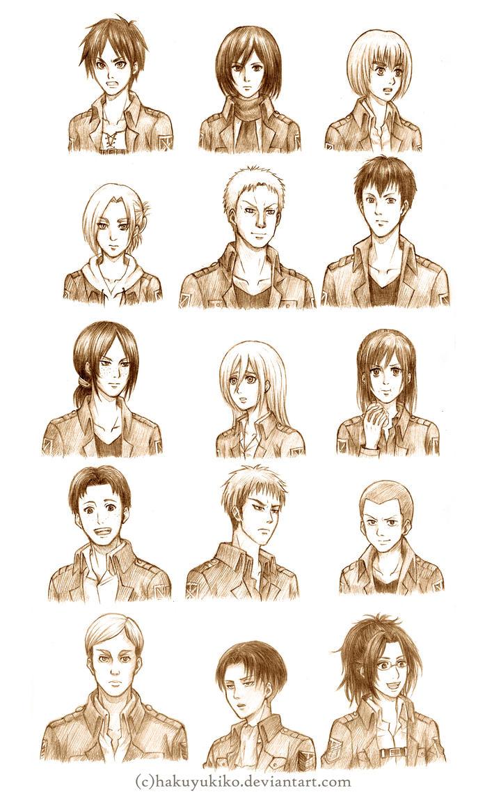 Attack on Titan Character Sketches by hakuyukiko