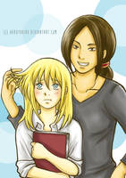 Ymir and Christa Doodle (Colored) by hakuyukiko