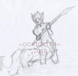 Wolf Taur male by TatterTotMinion