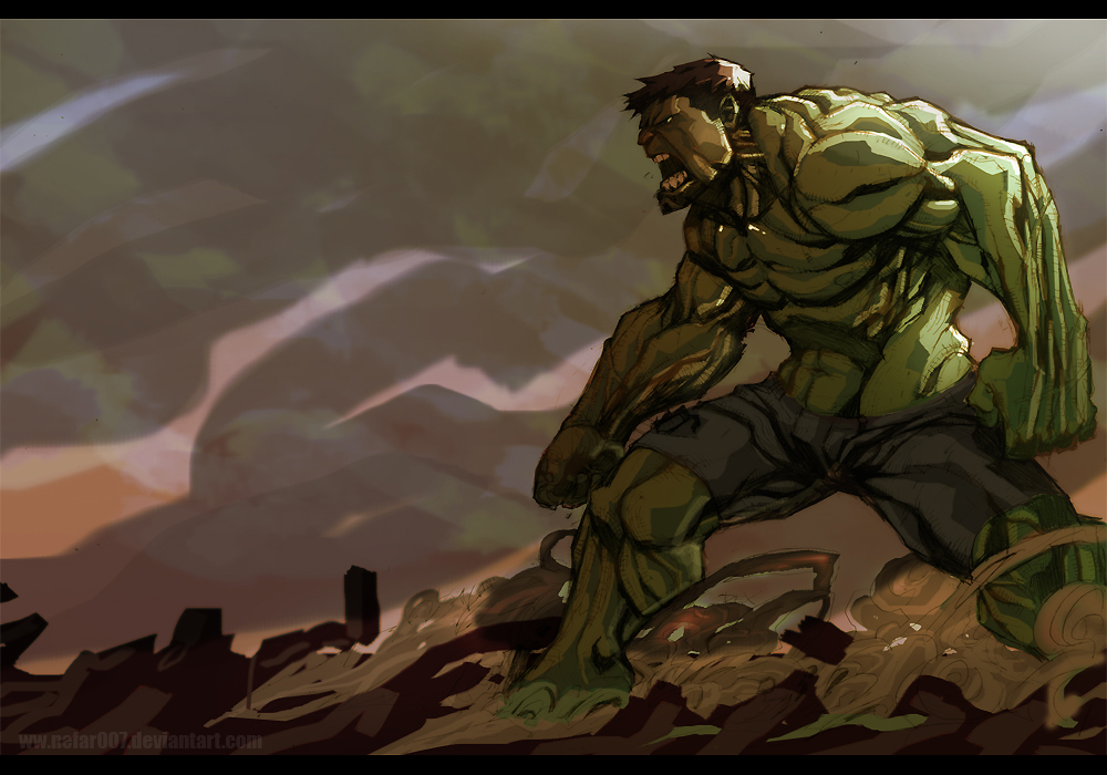 green,green,angst of hulk by nefar007