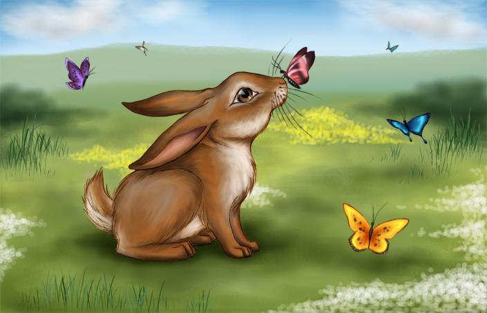 Bunny in a Meadow by rabidjigglypuff