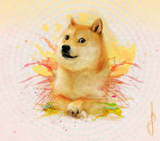 Watercolor Doge by heybrops