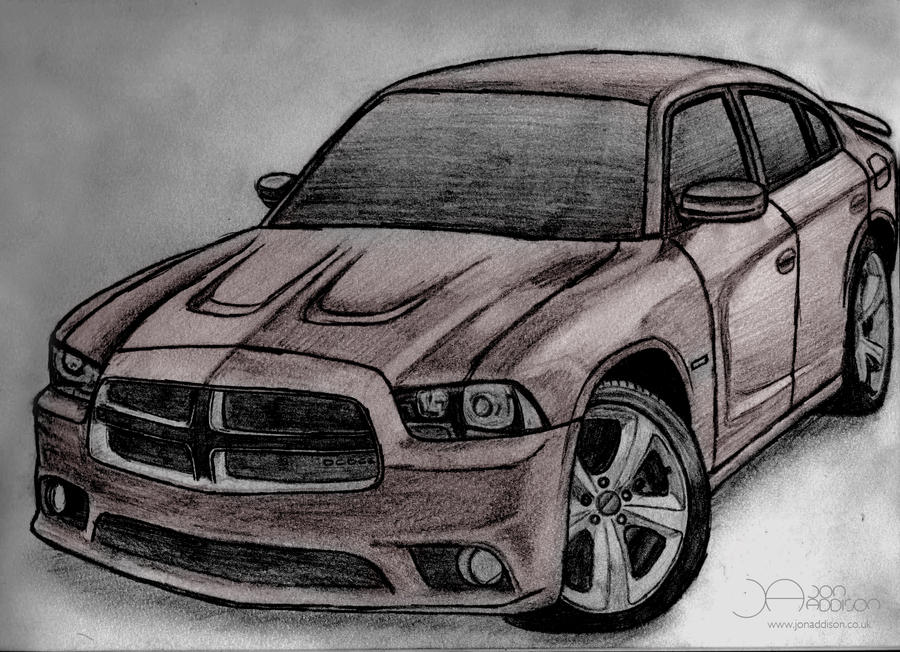 how to draw dodge charger