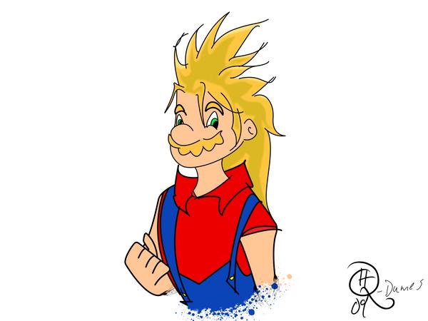 Super Saiyan Mario Colored by ~MxonerSkittleDip on deviantART