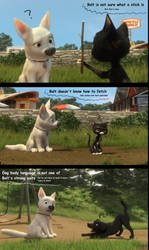 Bolt learning how to be a dog by CarlMinez
