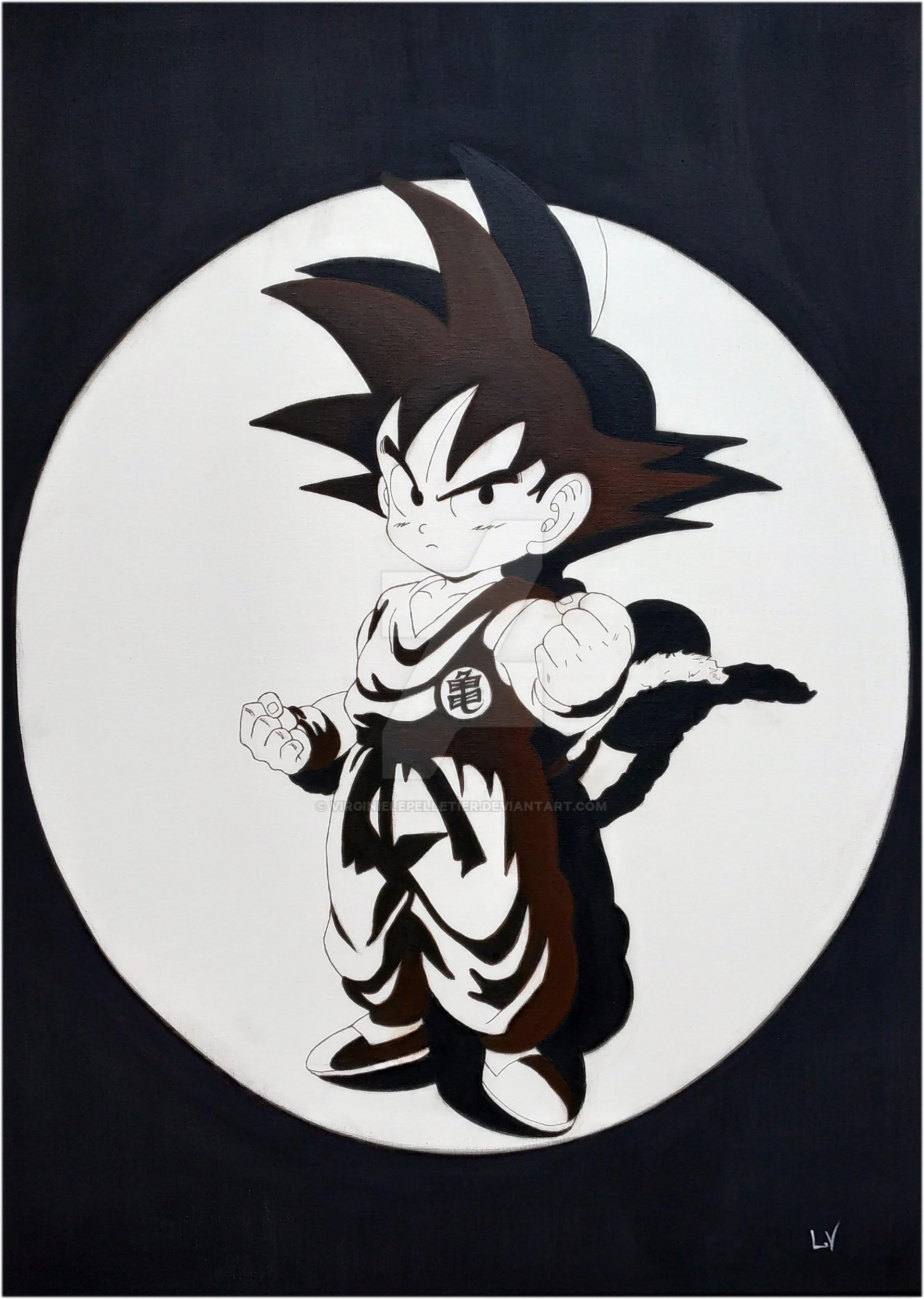 Goku Noir Et Blanc By Virginielepelletier On Deviantart