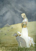 Merovingian Woman with Hounds by akitku