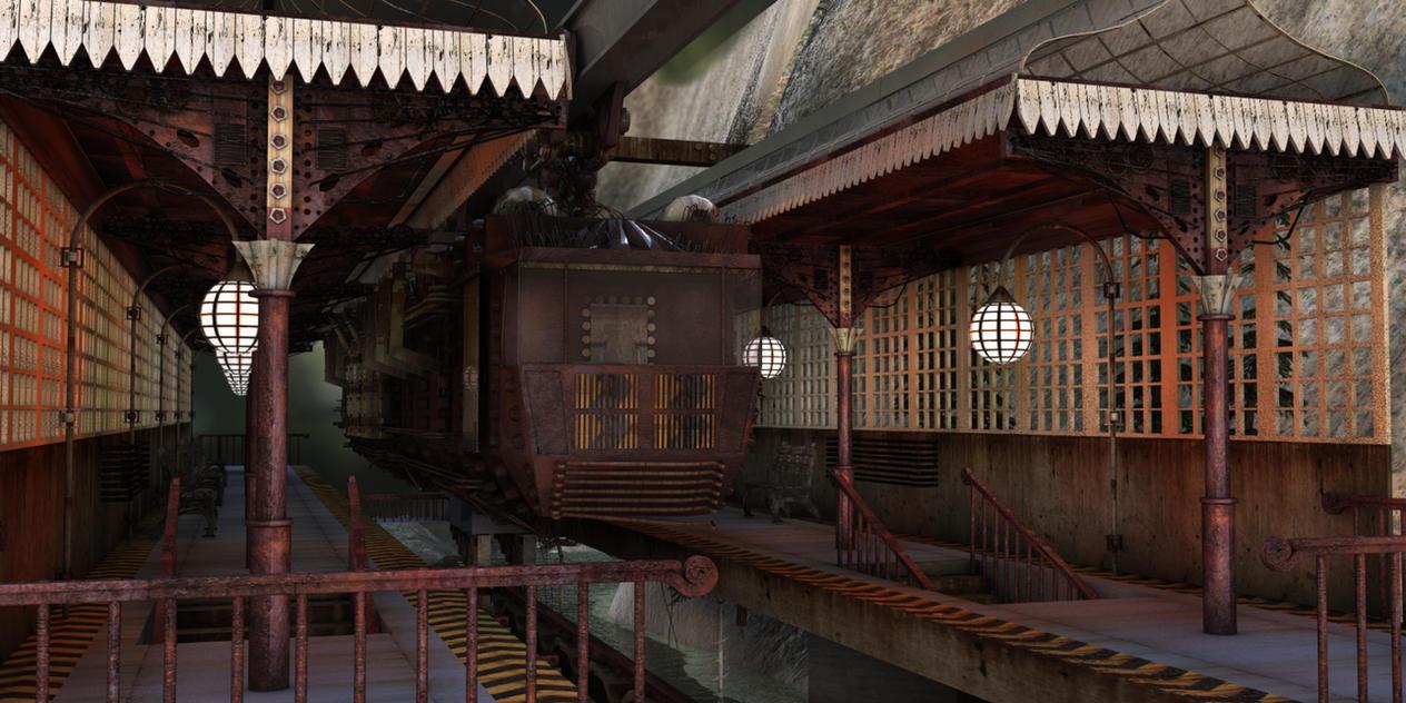 Steampunk Train Station Steampunk Steampunk Floating City